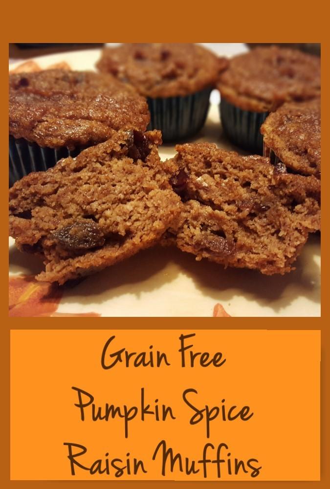 Grain Free Pumpkin Spice Raisin Muffins