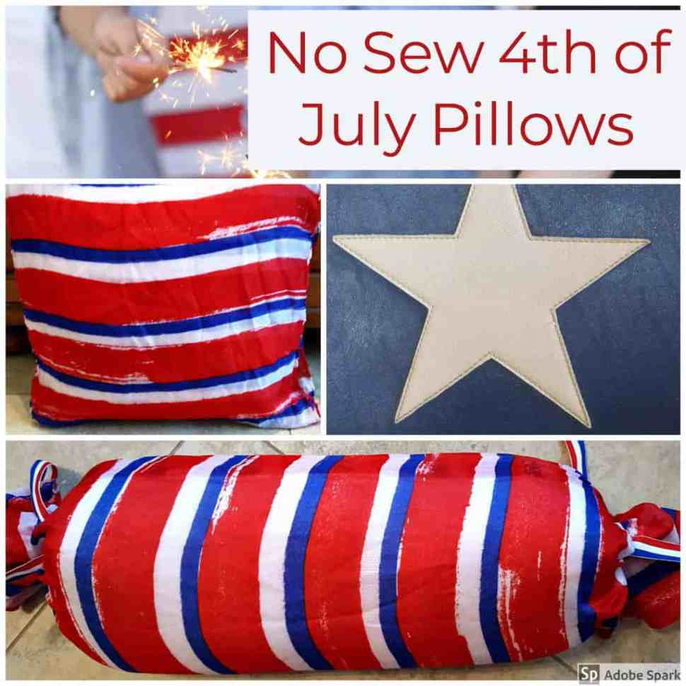 Patriotic No-Sew Pillow for the June Dollar Store Craft Challenge from www.thisautoimmunelife.com