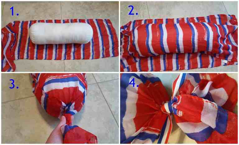 Patriotic No-Sew Pillow made for the June Dollar Store Challenge by www.thisautoimmunelife.com