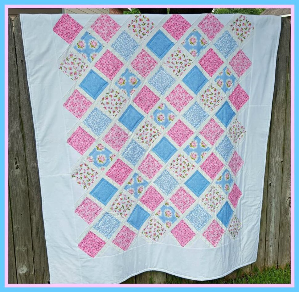 Lattice Quilt for July Pinterest Challenge by www.thisautoimmunelife.com