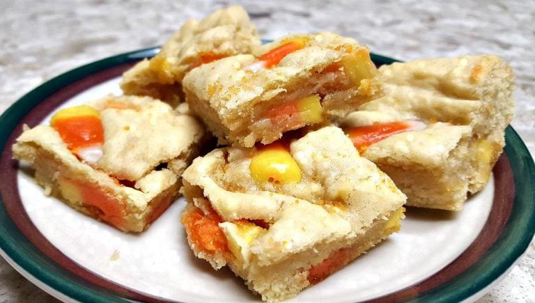 Candy Corn Cookie Bars from www.thisautoimmunelife.com