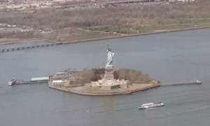 Statue of Liberty on the Hudson River
