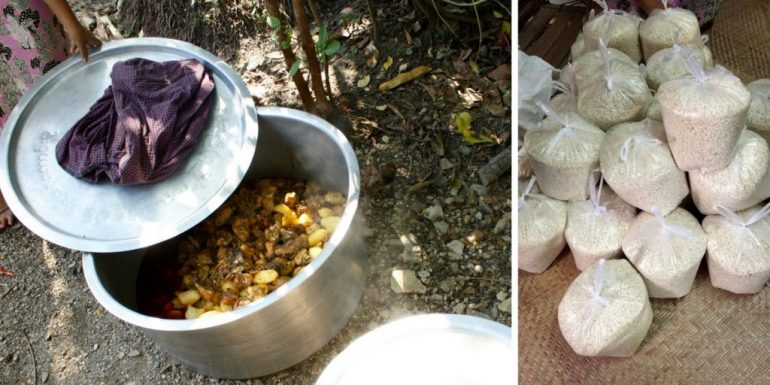 An image of the pot of food being prepared to serve to the village and the bags of rice to be handed out.