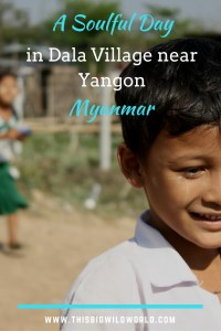 Pin image of young boy in Dala Village near Yangon in Myanmar, where RAKLife.org performed random acts of kindness.