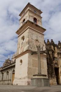 Image of Iglesia de la Merced from the street level in Granada, Nicaragua.
