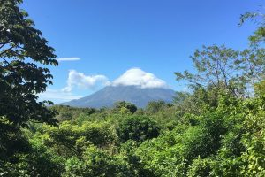 Image of Volcano Concepcion as seen from the balcony at La Via Verde on Ometepe Island, Nicaragua.