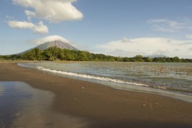 View of Volcanos Maderas and Concepcion from Punta Jesus Maria. Taken while standing in Lake Nicaragua off of Ometepe Island.