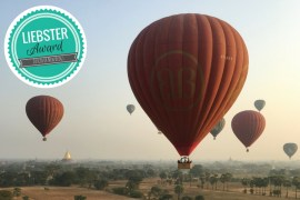 Image of hot air balloons over Bagan in Myanmar at sunrise with Liebster Award logo overlay.