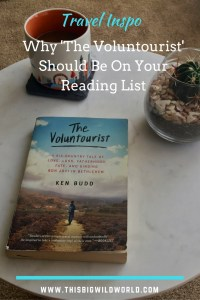 Image of the book 'The Voluntourist' on a coffee table as part of the Travel Inspo series.