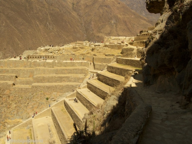 Image looking back at the Temple of the Sun at Ollantaytambo in the Sacred Valley near Cusco Peru.