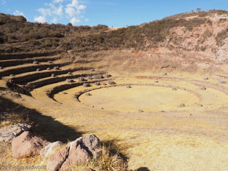 Image of Inca ruins at Moray in the Sacred Valley near Cusco Peru.