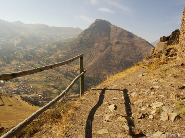 Image of the valley below the Pisac ruins in the Sacred Valley near Cusco.
