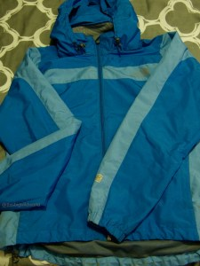 Image of The North Face hooded rain jacket packed for the Inca Trail hike in Peru.