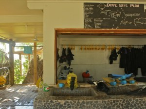 Image of the dive shop and dive map at Blue Lagoon Beach Resort in the Yasawa Island in Fiji.