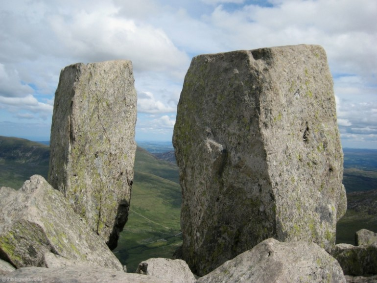 Image of two rocks, Adam and Eve, on top of Tryfan Mountain in North Wales.