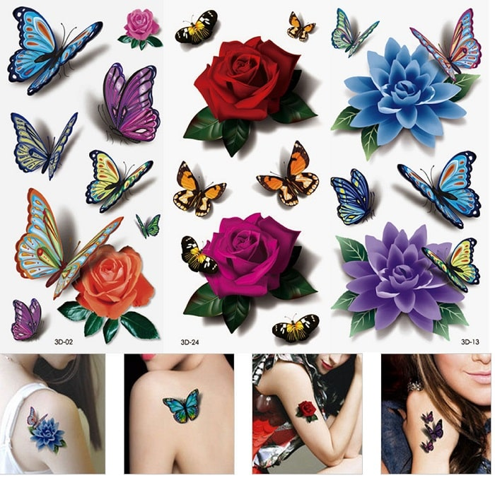 butterfly and flower temporary tattoos