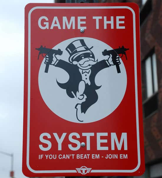 game-the-system-street-sign