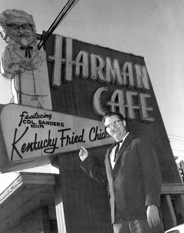 Colonel Harlan Sanders, the man behind the chicken, got his start at the Harman Cafe as well.