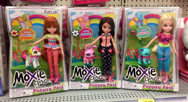 The list of 5 inappropriate real toys includes the Moxie Girlz Poopsy Pets series of which three examples can be seen in the image.