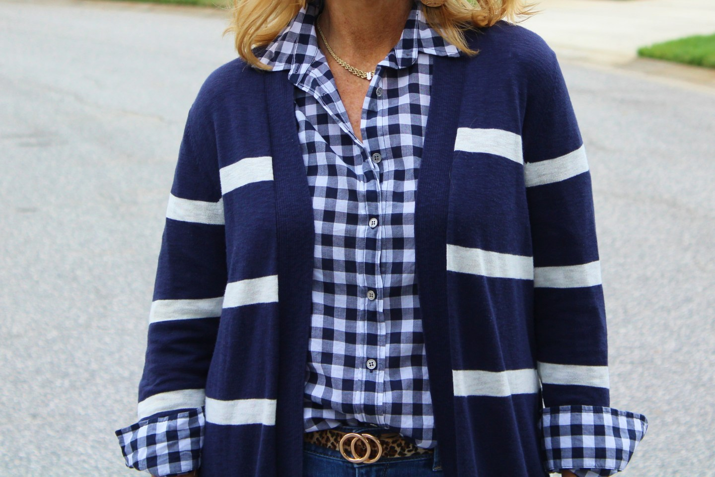Striped cardigan and gingham