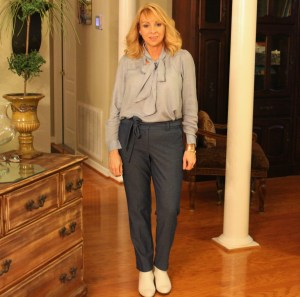 #Chambray Tie Blouse