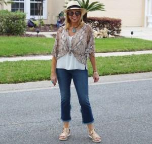 #Python Kimono and Tulip Hem Jeans