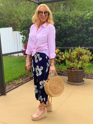 Cropped wide leg pants and striped shirt