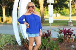 Blue blouse and shorts