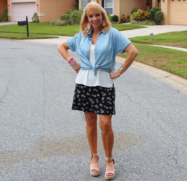 chambray top and ponte skirt