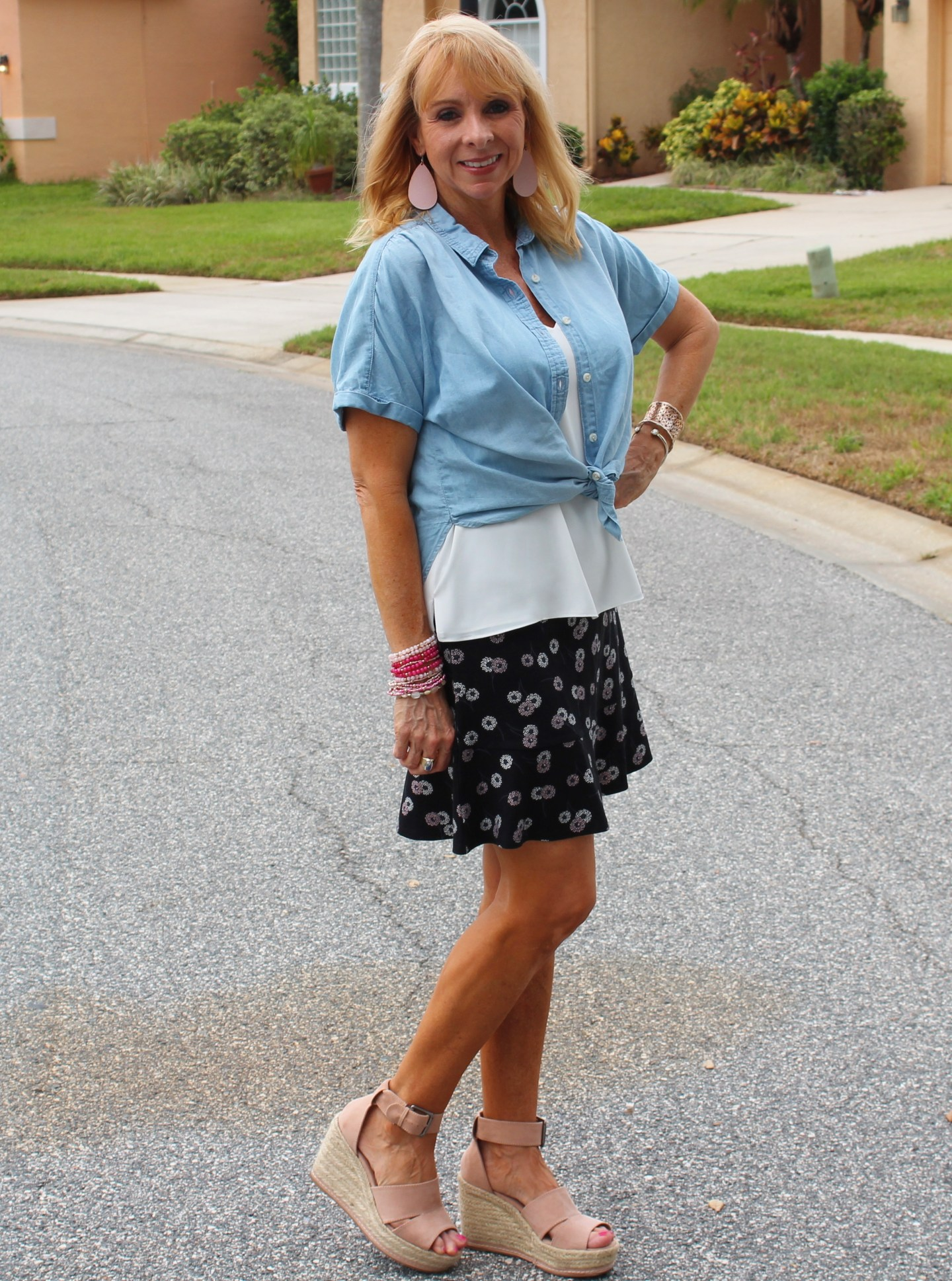 chambray top and ponte skirt