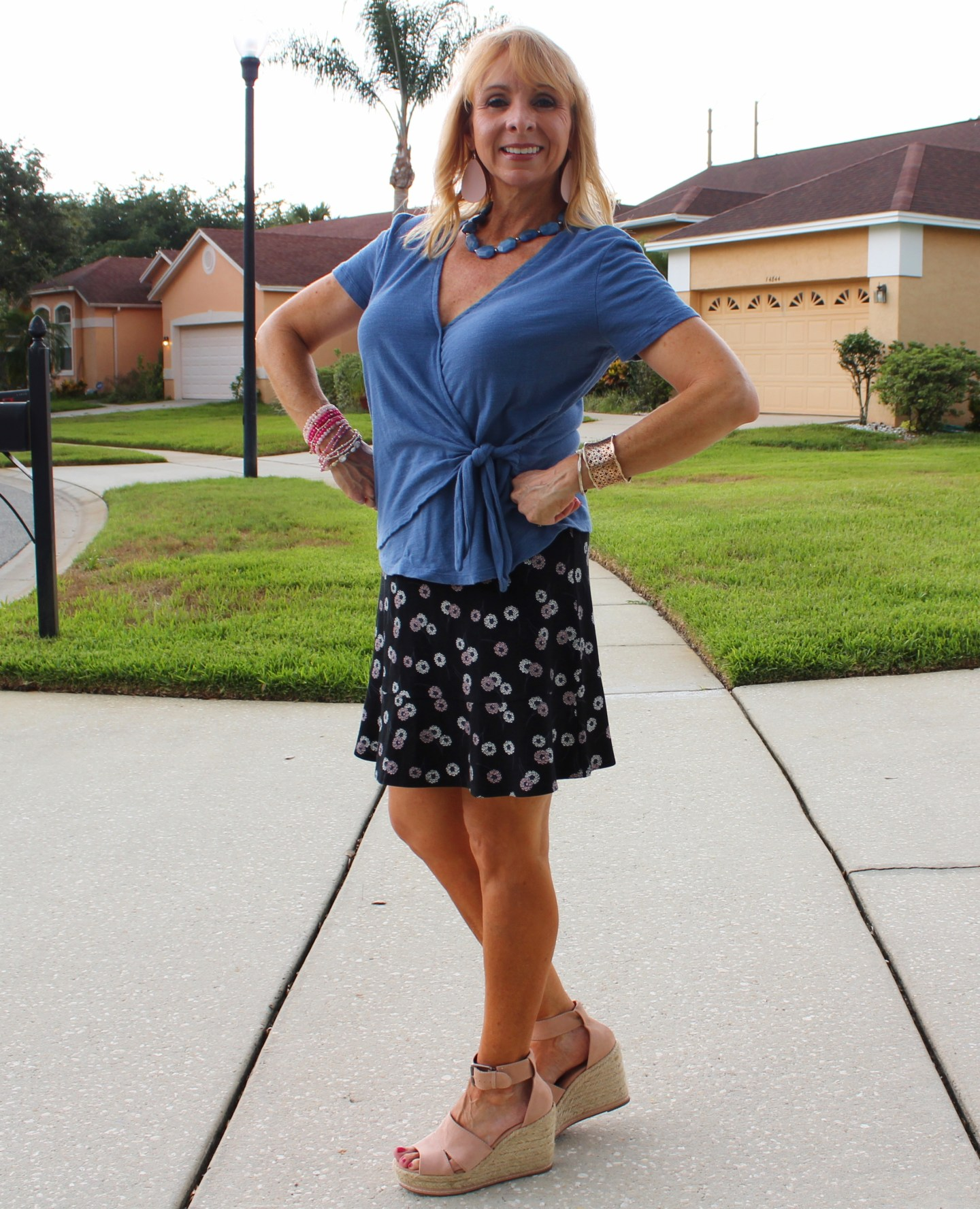 Old Navy Faux Wrap Top and skirt