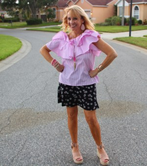 Pink One Shoulder Top and Ponte Knit Skirt
