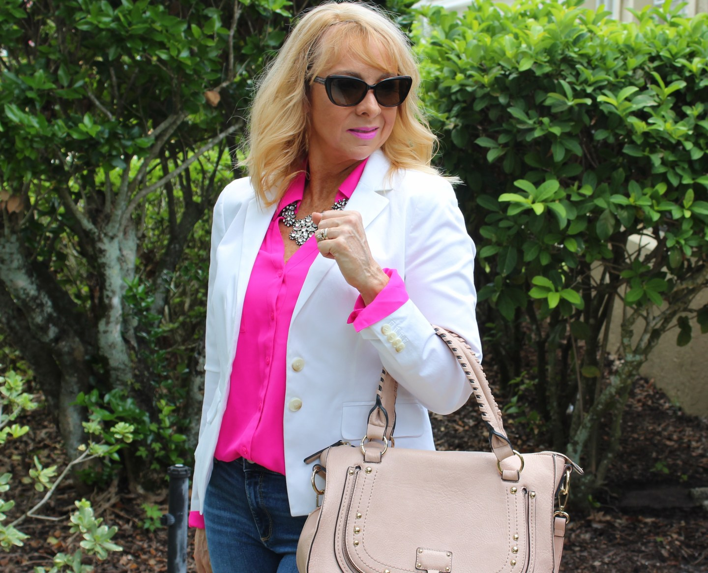 Hot Pink Top and White Blazer