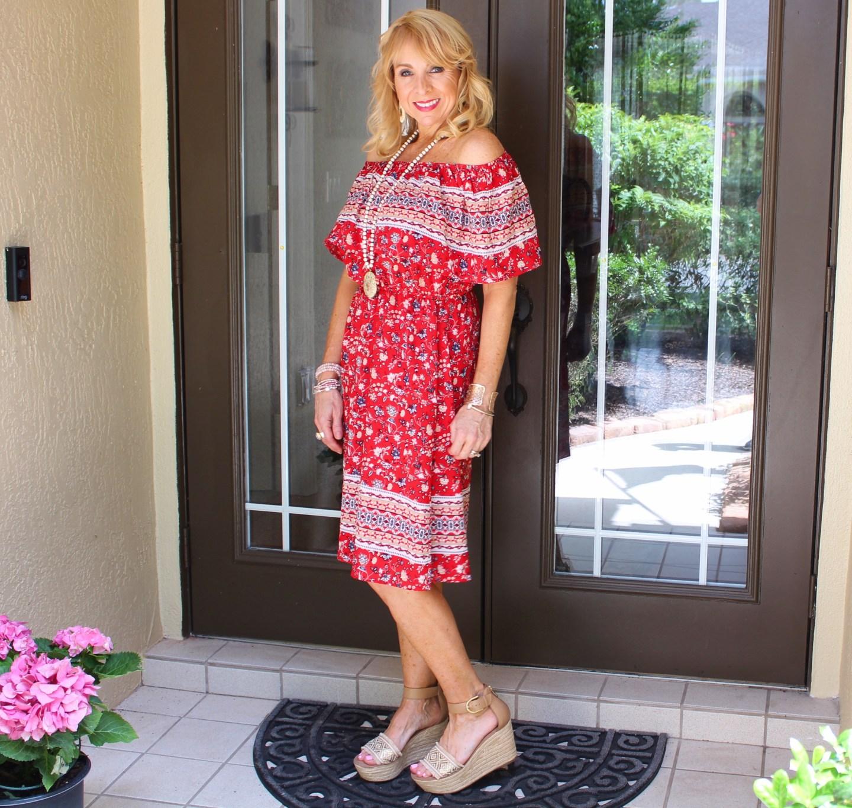Red OTS Dress