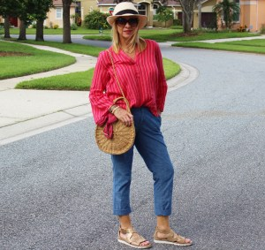 Fedora, red and whote striped tunic, and chambray pants