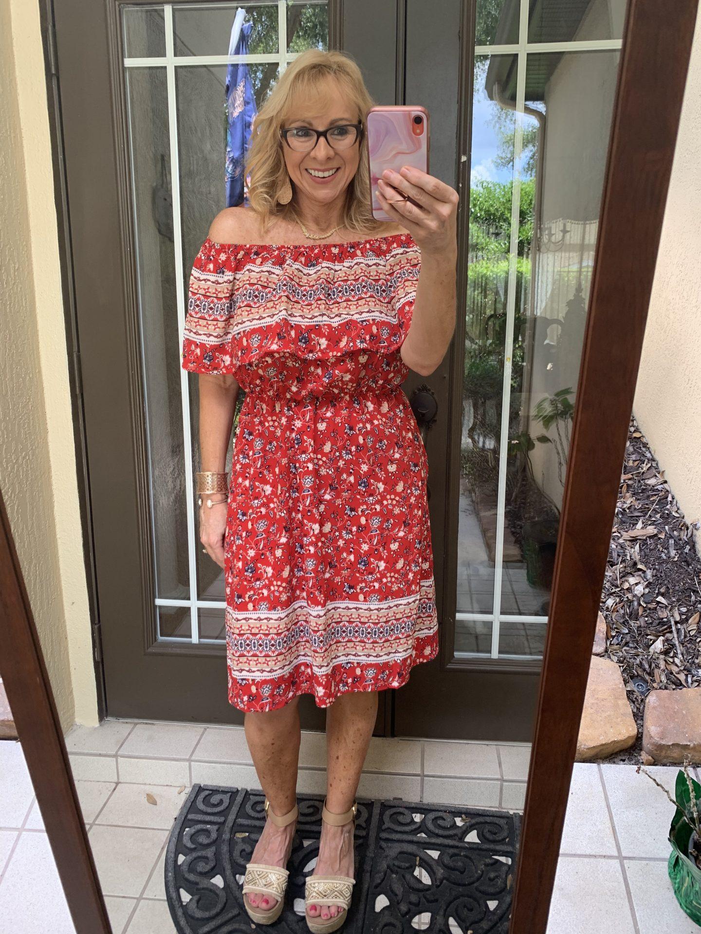 OTS Red Dress