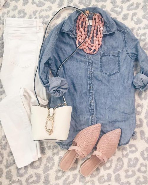 White jeans, chambray shirt, blush accessories