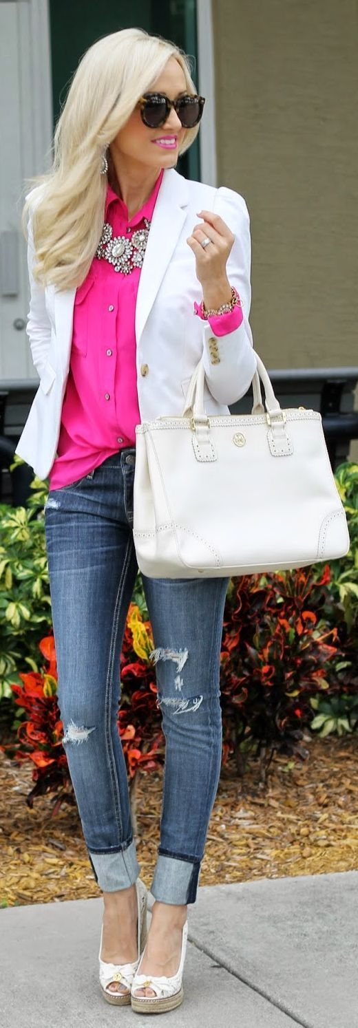 White Blazer, Pink top, Jeans
