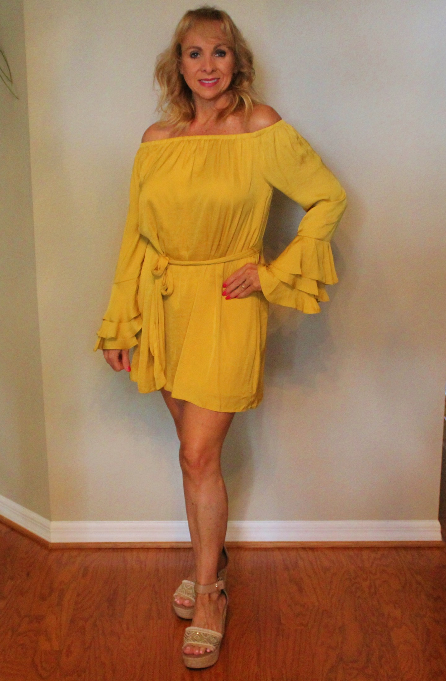 Mustard OTS Dress