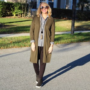 Wedge Sneakers + Joggers + Long Cardigan
