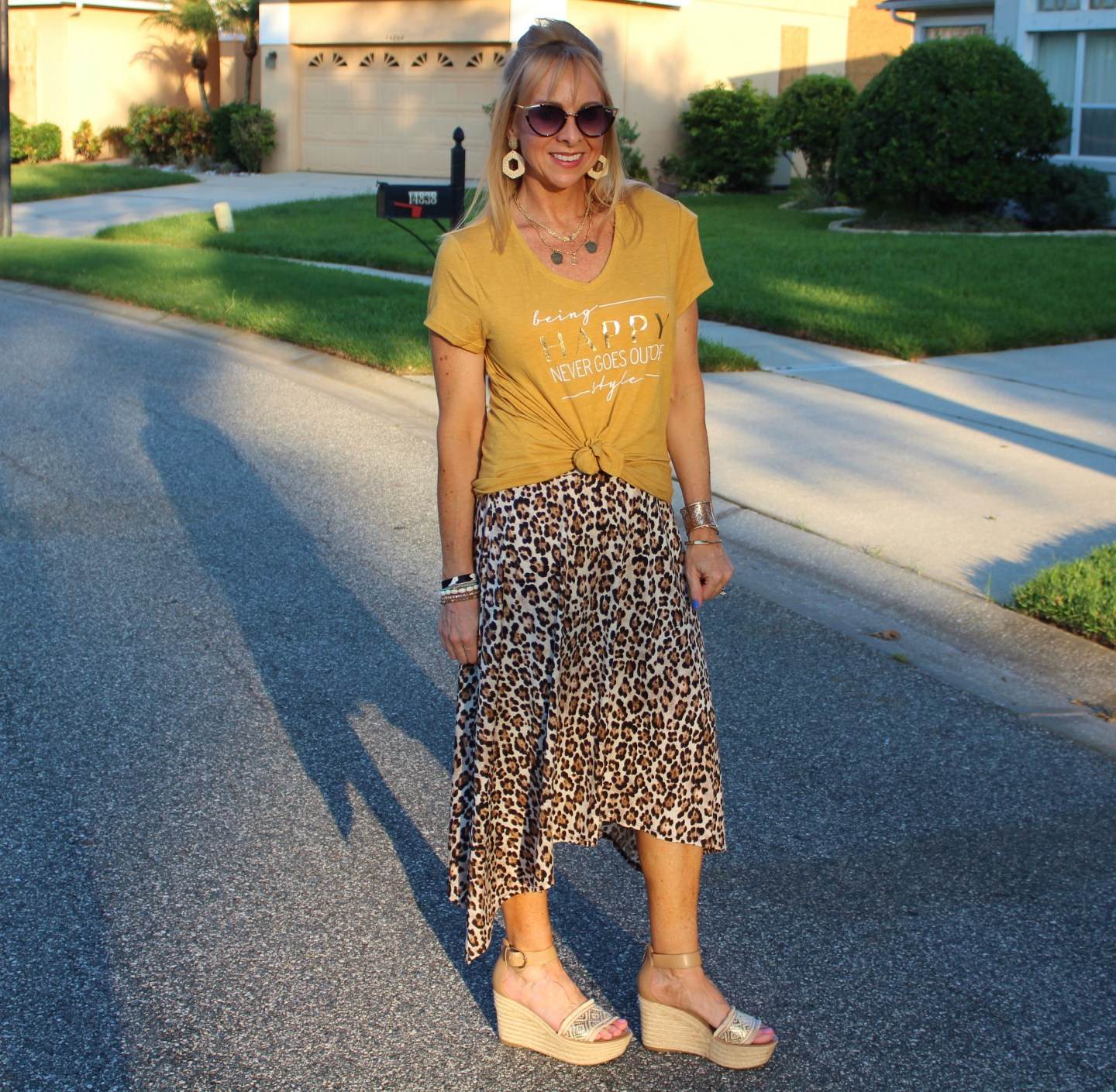 Graphic Tee + Leopard Skirt