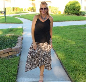 Leopard skirt + Black Camisole