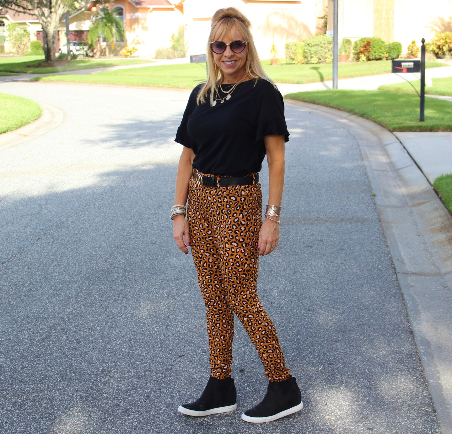Wedge Sneakers + Leopard Pixie Pants
