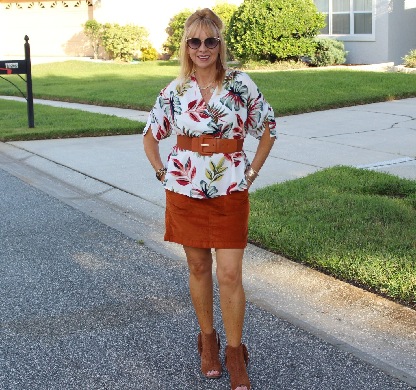 Corduroy Skirt + Floral Top