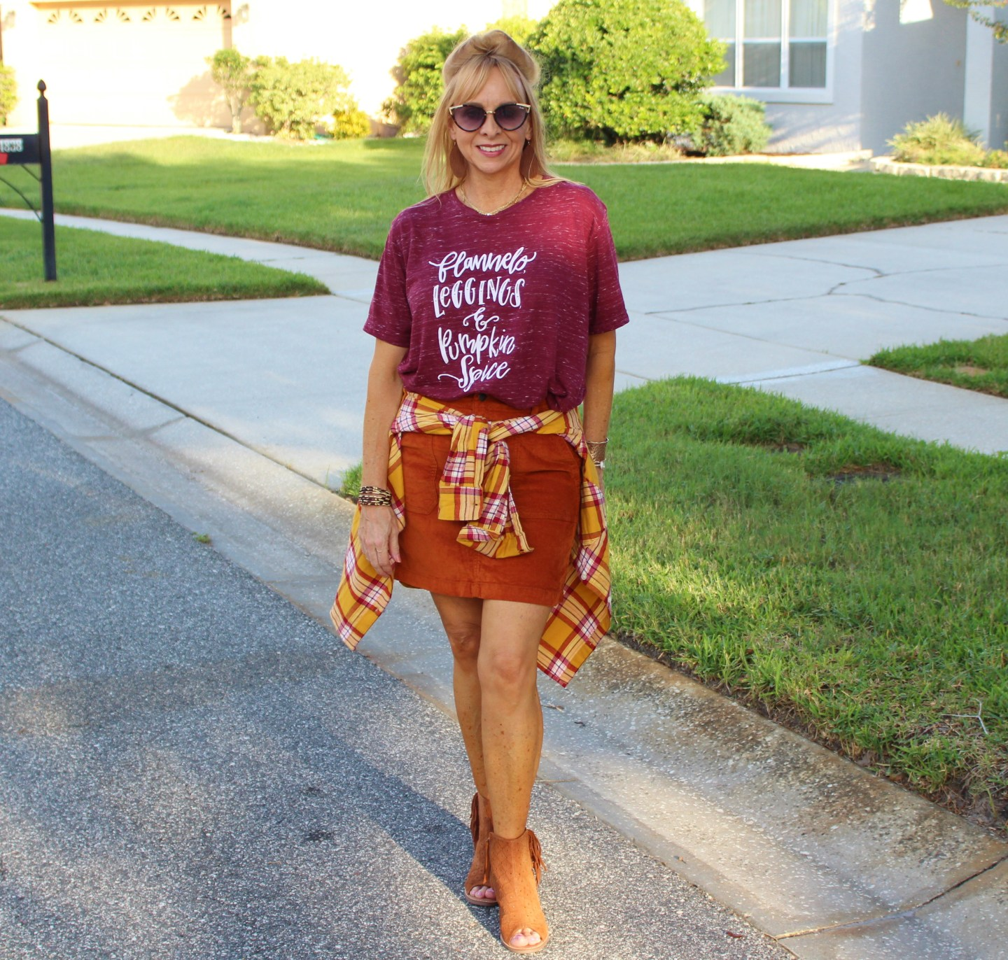 Rust Corduroy Skirt + Graphic Tee + Flannel
