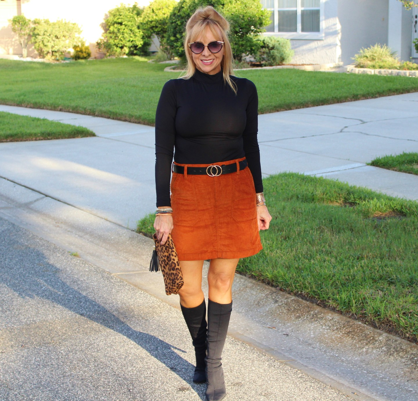 Corduroy Skirt + Black Body Suit