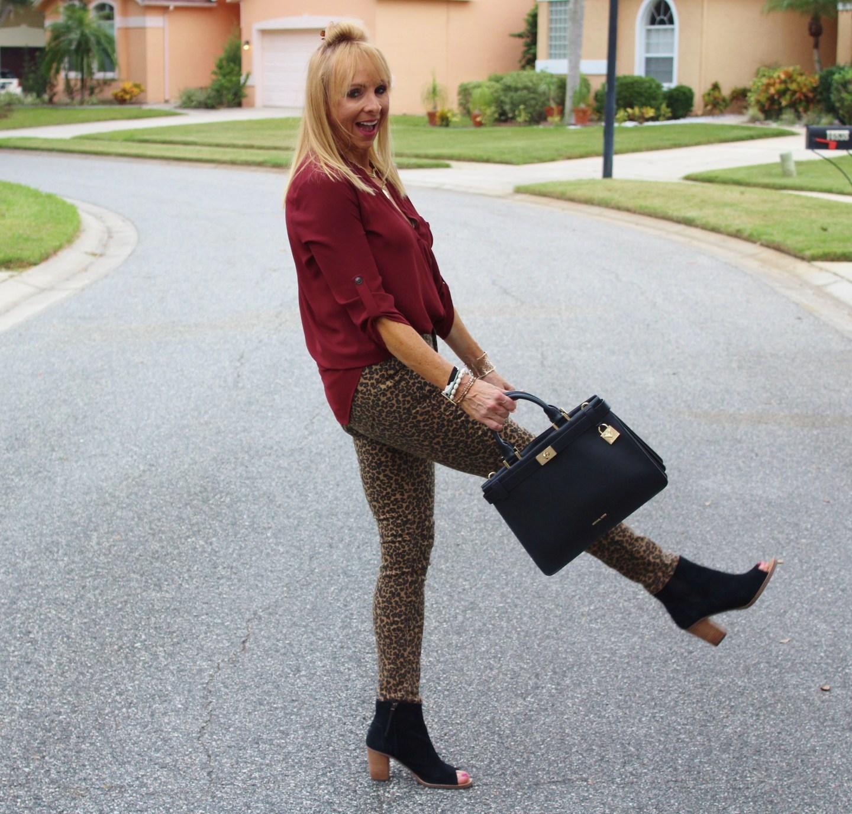 Leopard jeans + Burgundy top