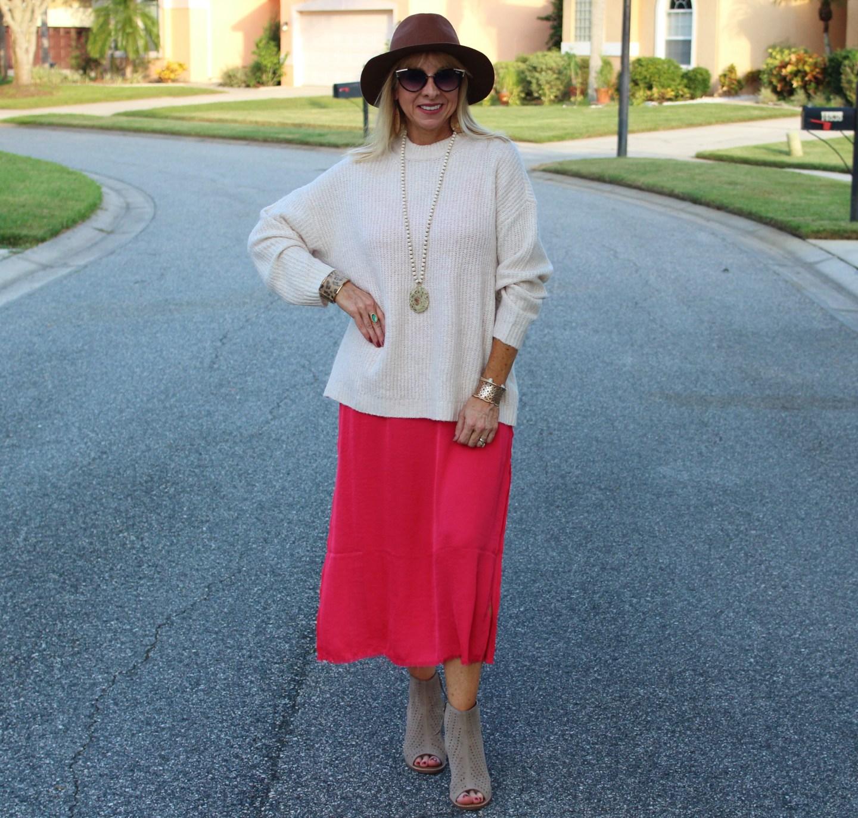 Sweater + Slip Dress + Boho Hat