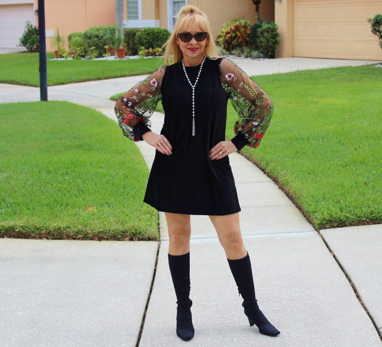 Amazon Black Dress + Sock Boots