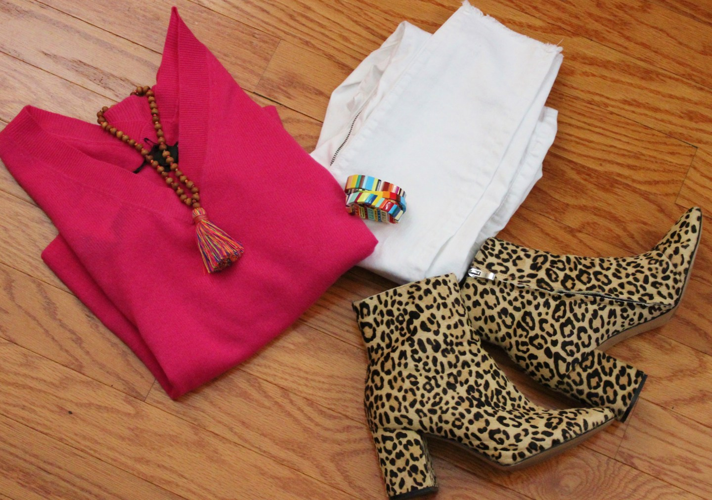 Pink Cashmere + White jeans + Leopard Booties